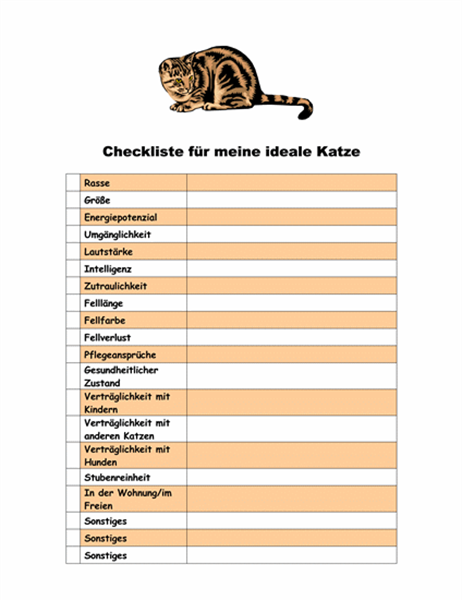 Checkliste für meine ideale Katze