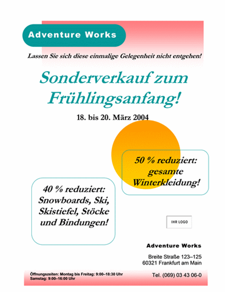 """Handzettel """"Sonderverkauf"""" (8,5x11, 2 Punkte)"""