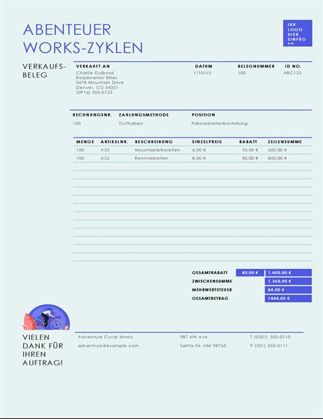 Verkaufsbeleg (einfaches blaues Design)