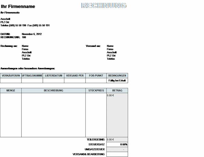 Verkaufsrechnung mit Steuern und Versand- und Bearbeitungskalkulationen