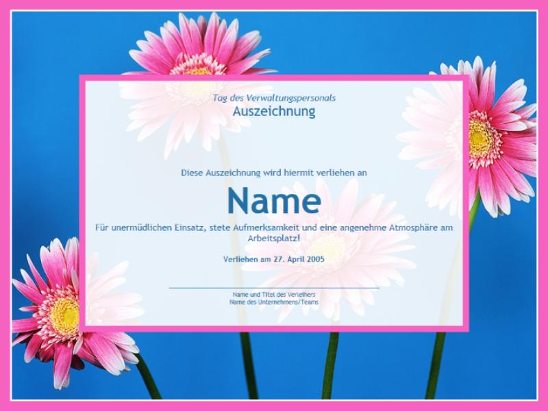 Auszeichnung für Verwaltungsmitarbeiter (Fotohintergrund)