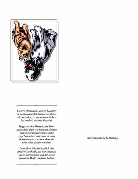 Kondolenzkarte zum Tod eines Haustieres