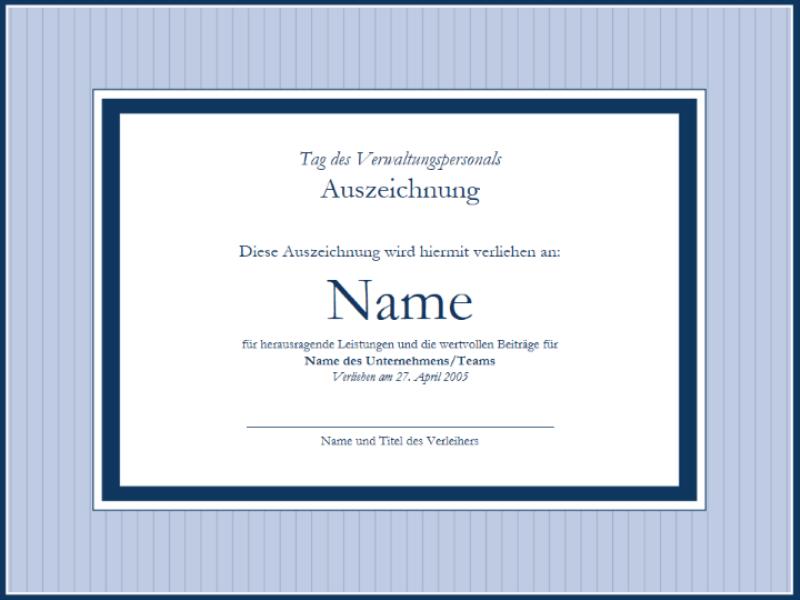 Certificat d'appréciation pour personnel administratif