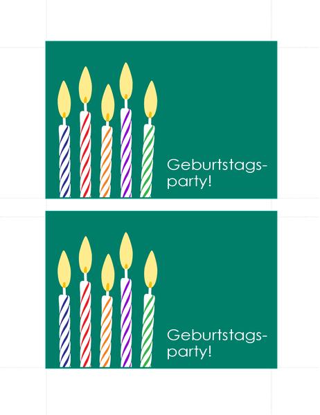 Geburtstagseinladungs-Postkarten (2 pro Seite)