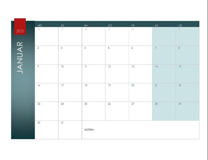 Jahreskalender für ein beliebiges Jahr (Ion-Design)