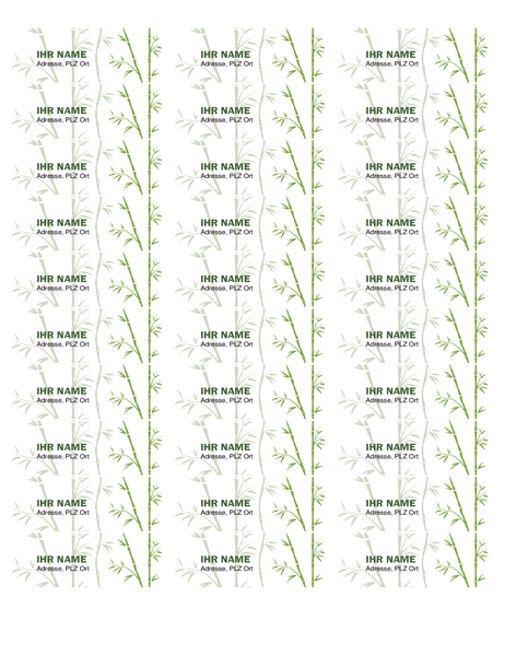 Absenderadressetiketten (Bambus, 30 pro Seite, geeignet für Avery 5160)