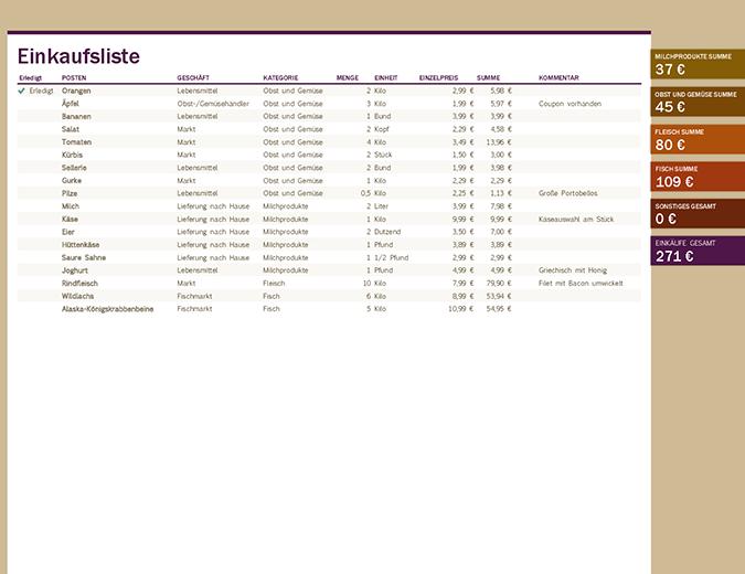 Einkaufsliste Excel