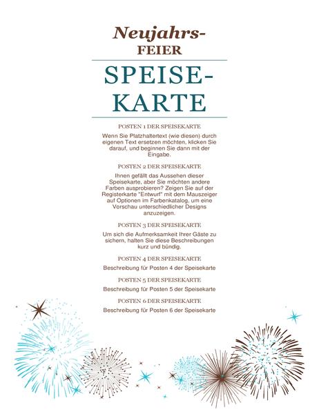 "Menüfolge für Silvesterparty (Designset ""Silvester"")"