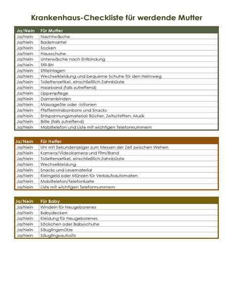 Krankenhaus-Checkliste für werdende Mutter