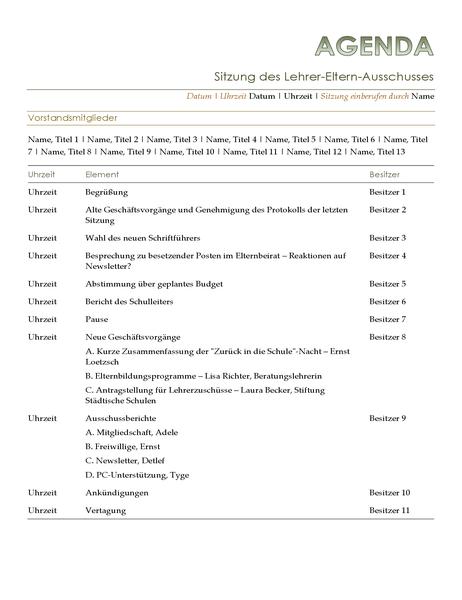 Agenda für Sitzung des Lehrer-Eltern-Ausschusses