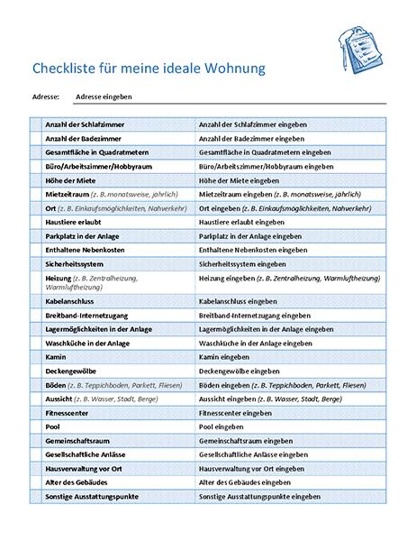 Checkliste für die Auswahl meiner idealen Wohnung