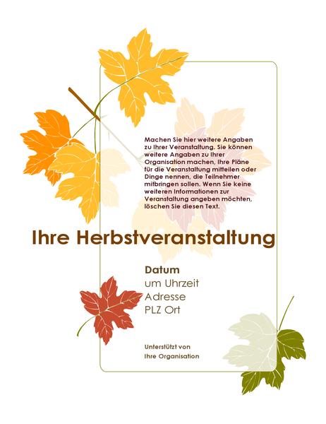 Veranstaltungshandzettel Herbst (mit Blättern)