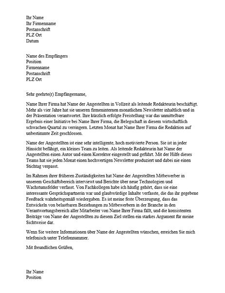 Empfehlungsbrief für berufliche Mitarbeiter