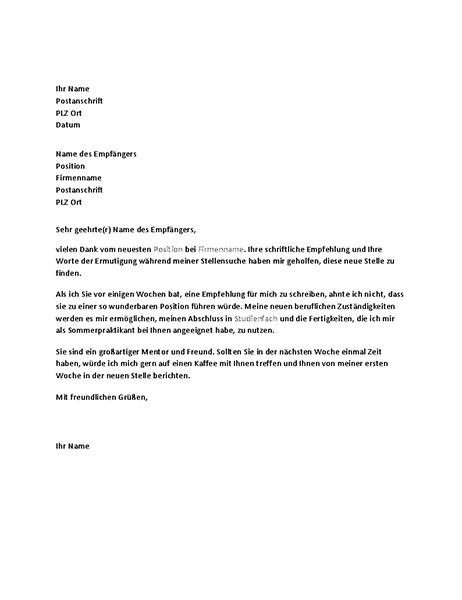 Danksagungsbrief für eine erfolgreiche Stellenreferenz von einem früheren Chef