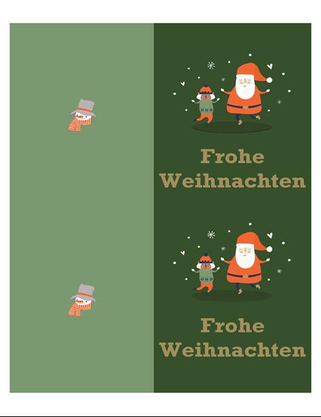 Weihnachtskarten (Geist-der-Weihnacht-Design, 2 pro Seite, für Avery-Papier)