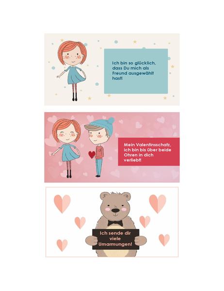 Valentinsgrüße für Kinder (12 Designs, 3 pro Seite)