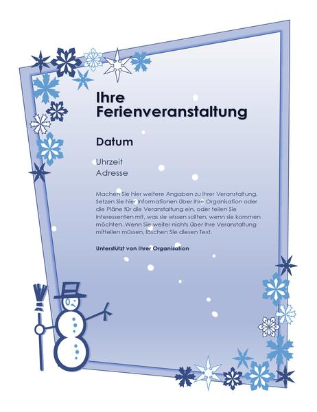 Handzettel für Weihnachtsferien-Veranstaltung