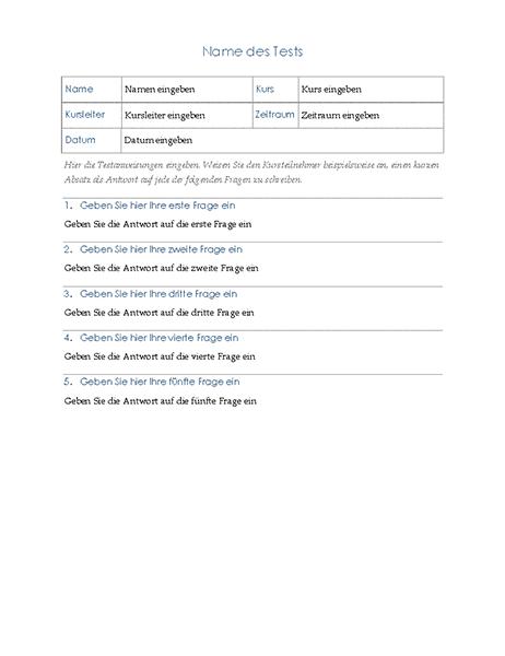 Test mit Aufsatzfragen