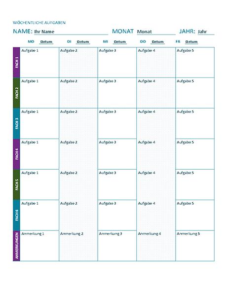 Wöchentlicher Aufgabenplan (farbig)