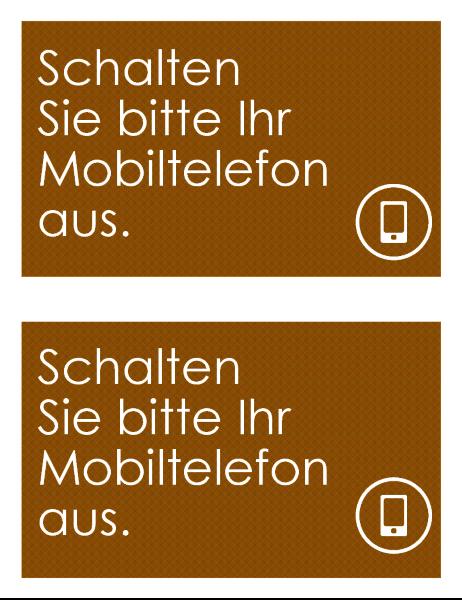 """Schild """"Mobiltelefon ausschalten"""" (2 pro Seite)"""