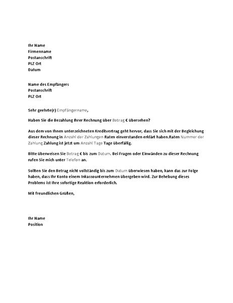 Brief zur Zahlungsaufforderung bei Ratenzahlung