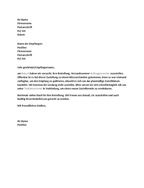 Brief zur Benachrichtigung eines Kunden über eine verpasste Zustellung