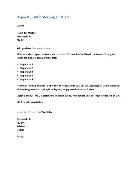 Reparaturaufforderung an Mieter (Serienbrief)