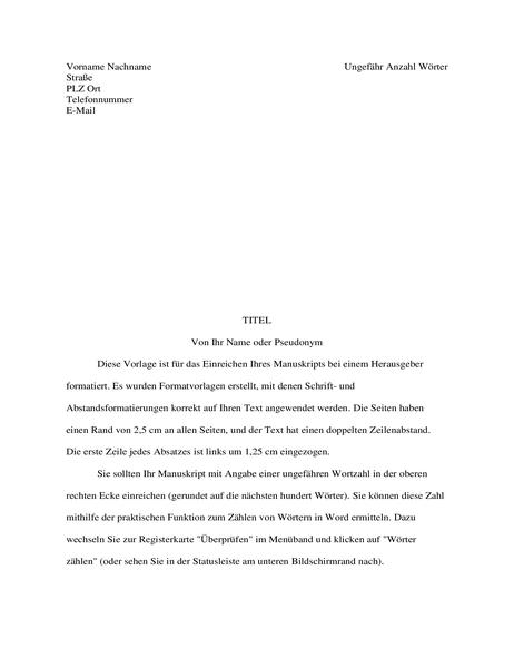 Format für Geschichtenmanuskript