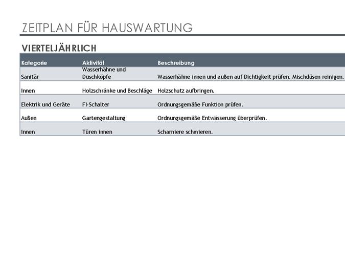 Planification et liste des tâches d'entretien de la maison