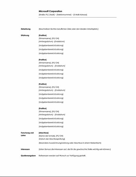Chronologischer Lebenslauf (Minimalistisches Design)