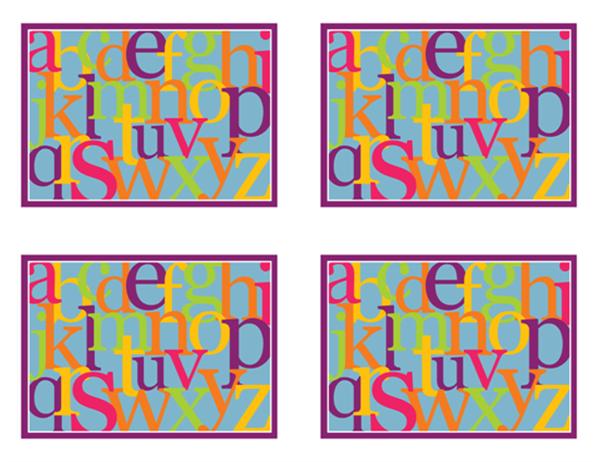 Buchstabenillustrationstafel (Rückseite; auf Englisch, kann mit Avery 3263, 8387 verwendet werden)