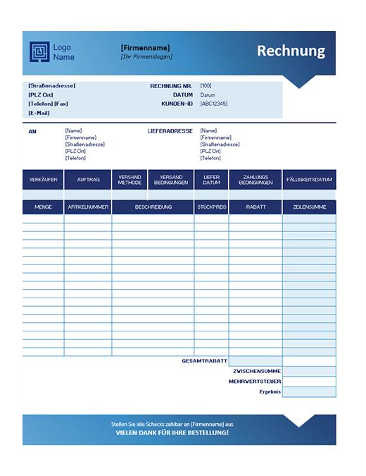 Verkaufsrechnung (Design mit blauem Farbverlauf)