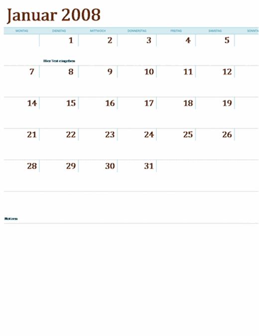 Kalender 2008 auf mehreren Arbeitsblättern (12 Seiten, Mo-So)