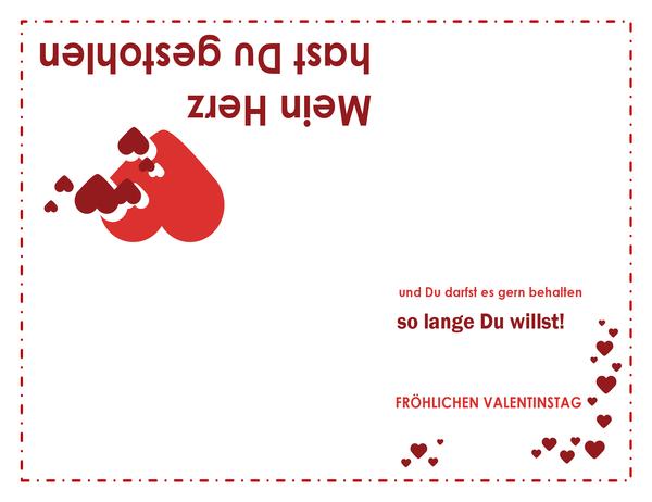 Karte zum Valentinstag (Herzdesign, vierfach gefaltet)