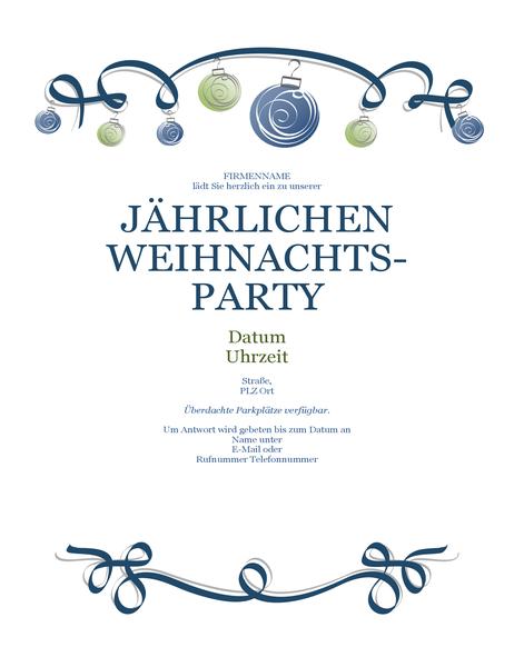 Handzettel für Weihnachtsparty mit Ornamenten und blauem Band (formales Design)