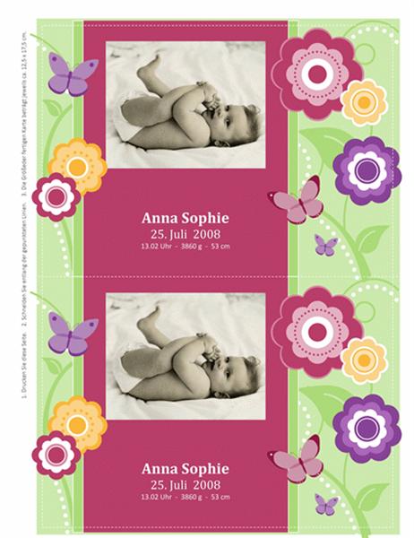 Karten zur Geburtsanzeige mit Foto (Blumen)