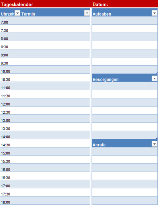 Leerer Tageskalender
