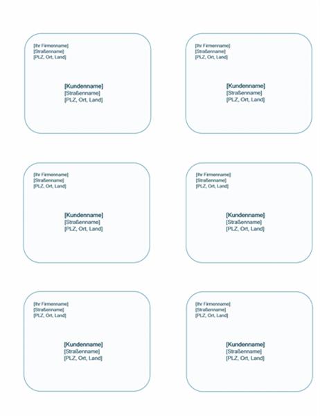 Versandetiketten (blauer Hintergrund, kann mit Avery5164 verwendet werden)