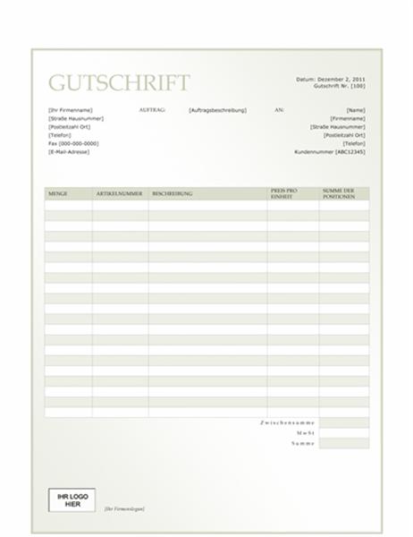 """Gutschrift (Design """"Grüner Farbverlauf"""")"""
