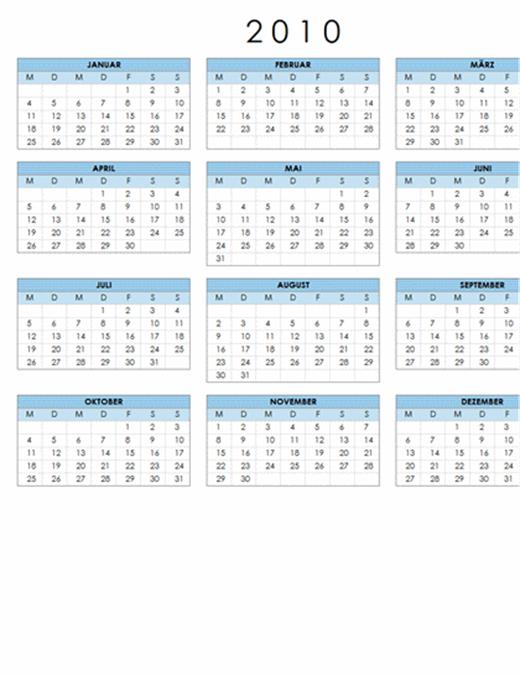 Kalender 2010 (1 Seite, Querformat, Mo-So)