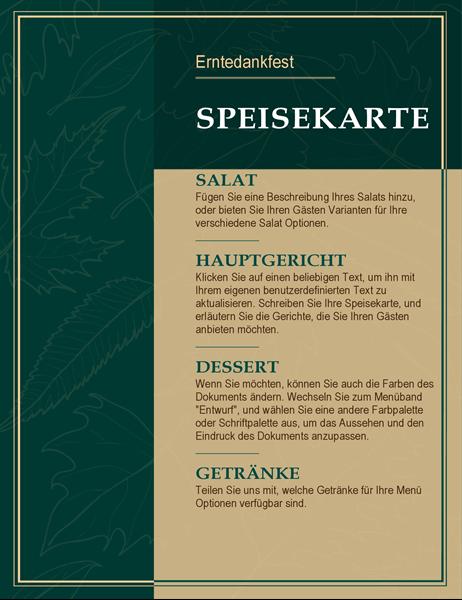Elegante Speisekarte zum Erntedankfest