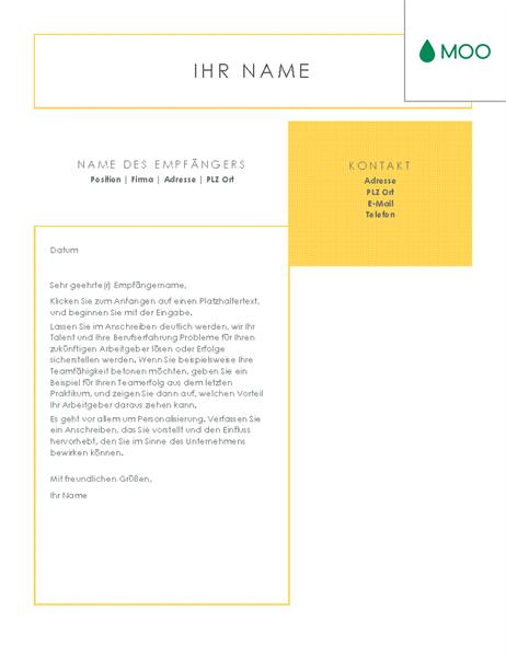 Frisches und klares Anschreiben, gestaltet von MOO