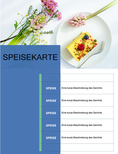 Party-Speisekarte (Blumendesign)