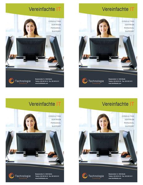Handzettel für Technologiebranche (Viertelseite, 4 pro Seite)