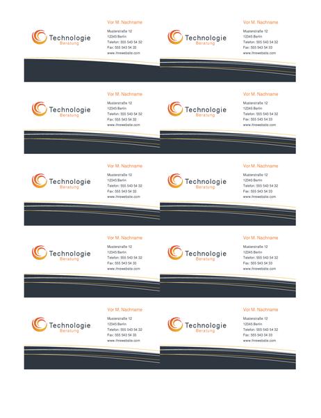 Visitenkarte für Technologie (10 pro Seite)