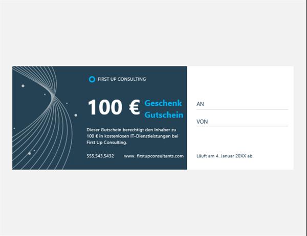 Geschenkgutschein für Technologieunternehmen (3 pro Seite)