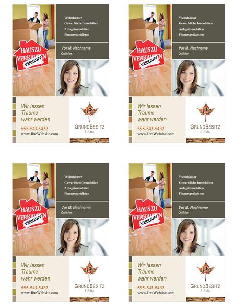 Handzettel für Immobilien (Viertelseite, 4 pro Seite)