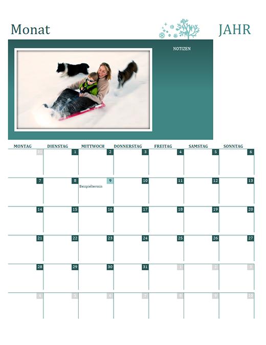 Jahreszeiten-Familienkalender (alle Jahre, Mo–So)