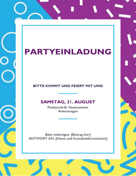 Festliche Party-Handzettel