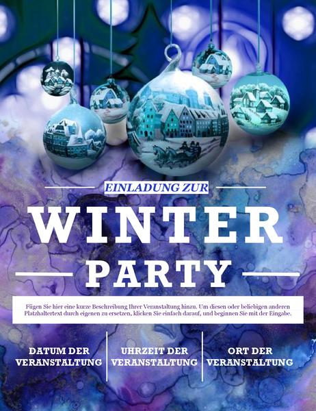 Eleganter Handzettel für eine Winterparty